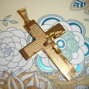Cross with Spanish Our Father Lord's Prayer Steel